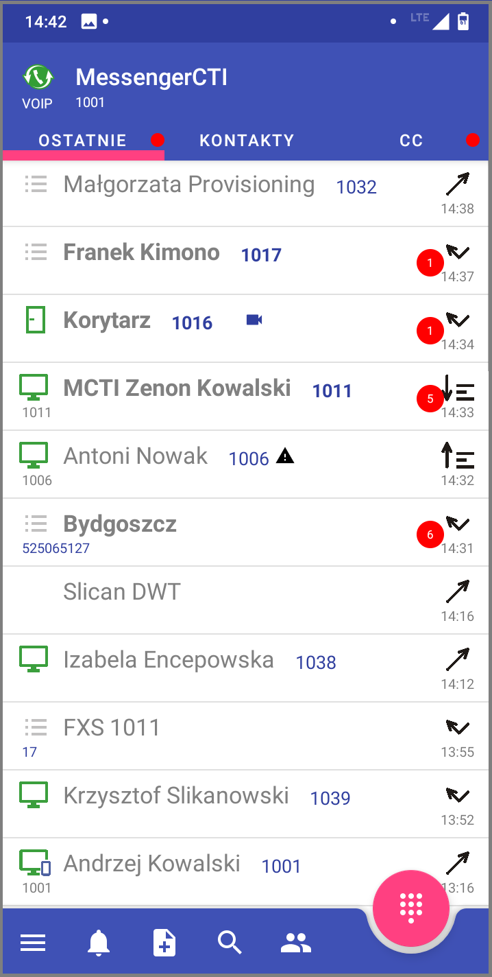 MessengerCTI.mobile 1.07 Ostatnie.png