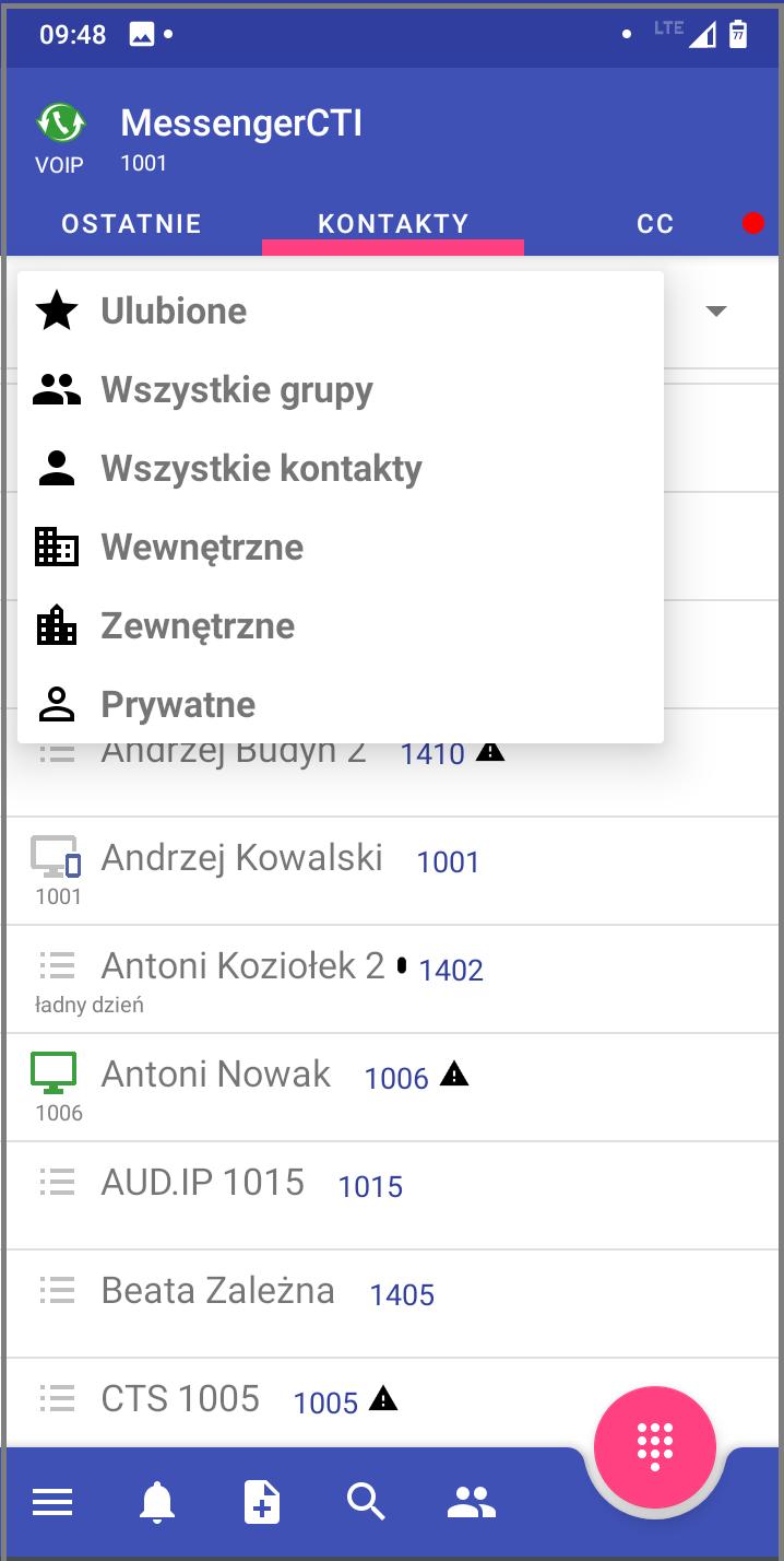 MessengerCTI.mobile 1.07 Kontakty.png