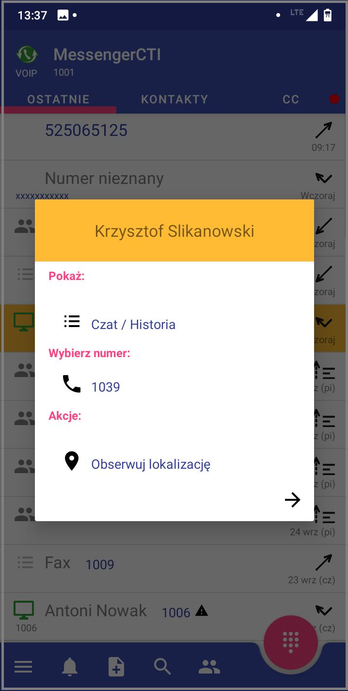 MessengerCTI.mobile 1.07 Połaczenie wychodzące 2.png